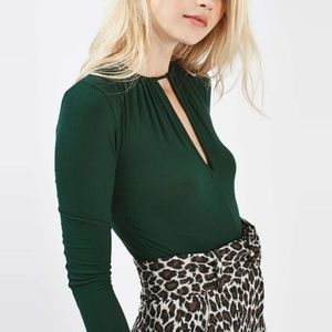 Topshop Dark Green High Neck LS Bodysuit